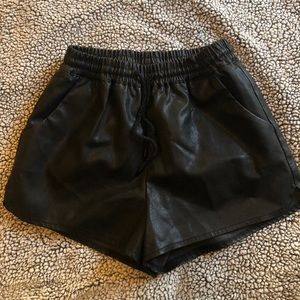 Women's leather shorts black
